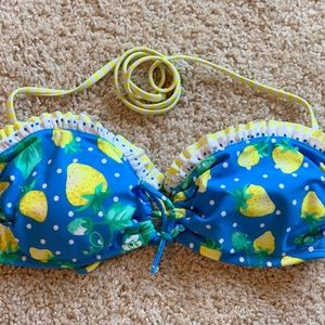 OP Yellow Strawberry Bathing Suit Top Size Jr L